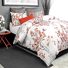 Alamode Home Brielle Duvet Cover in Coral