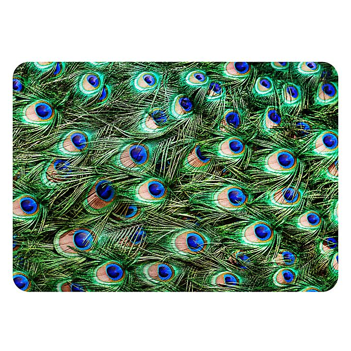 Alternate image 1 for The Softer Side by Weather Guard™ 23-Inch x 26-Inch Peacock Plume Kitchen Mat