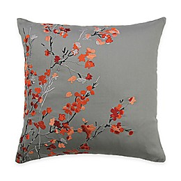 Alamode Home Brielle Square Throw Pillow in Coral/Grey