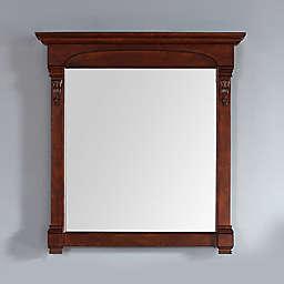 James Martin Furniture Brookfield 39.5-Inch Square Mirror in Warm Cherry