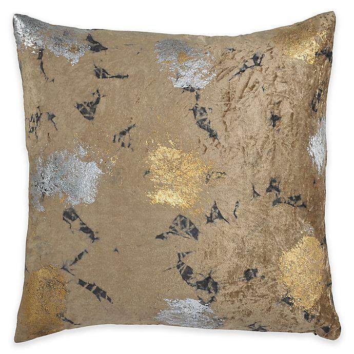 Alternate image 1 for Callisto Home Velvet Metallic Tie Dye Square Throw Pillow in Brown