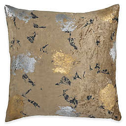 Callisto Home Velvet Metallic Tie Dye Square Throw Pillow in Brown