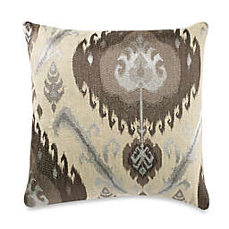 Ikat Embroidery Throw Pillow in Taupe/Grey