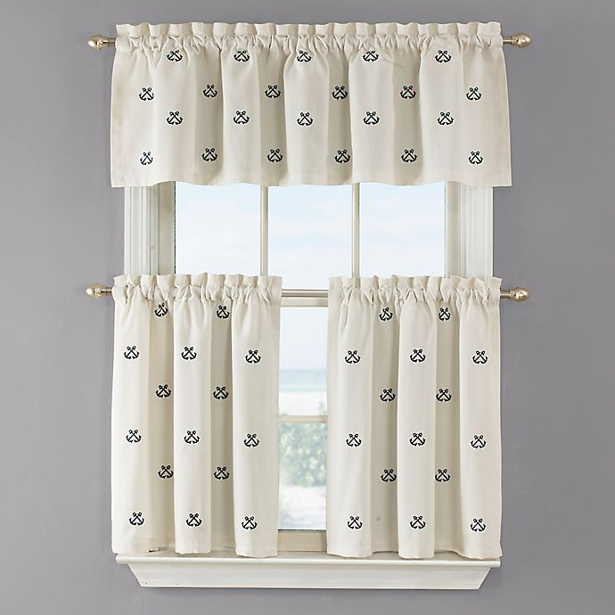 Alternate image 1 for Crossed Anchor 36-Inch Kitchen Window Curtain Tier Pair in White