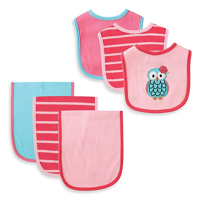 Alternate image 1 for BabyVision® Hudson Baby® 6-Piece Owl Bib and Burp Cloth Set