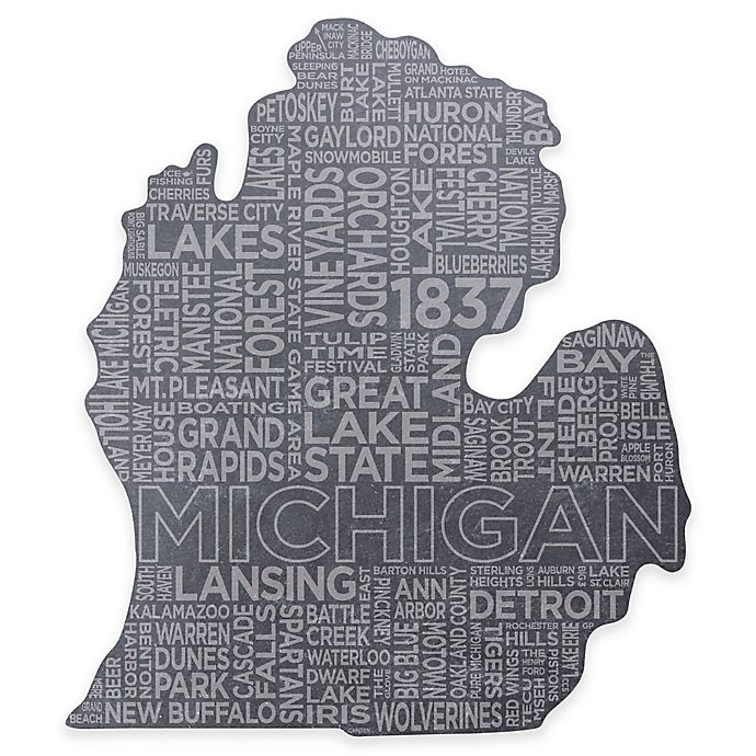 Alternate image 1 for Top Shelf Living Michigan Etched Slate Cheese Board