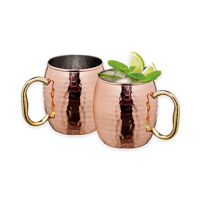 Alternate image 1 for Godinger Hammered Copper Moscow Mule Mugs (Set of 2)