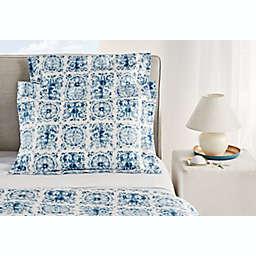 Frette at Home Azulejo King European Pillow Sham in Blue/White
