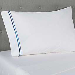 Frette At Home Piave 200-Thread-Count Standard/Queen Pillowcase in White/Blue