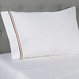 Frette At Home Piave 200-Thread-Count Standard/Queen Pillowcase in White/Caramel