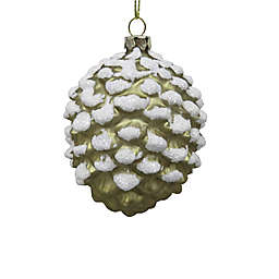 3.75-Inch Glitter Pinecone Figural Christmas Ornament in Gold