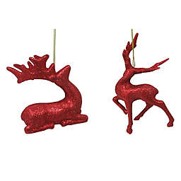 5.25-Inch Assorted Glitter Reindeer Figural Christmas Ornaments in Red