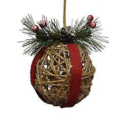 5-Inch Glitter Rattan Ball Figural Christmas Ornament in Natural
