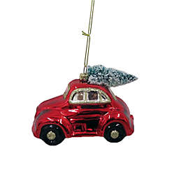 4.75-Inch Truck with Tree Glass Figural Christmas Ornament in Red