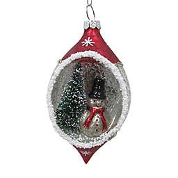 5-Inch Figural Glass Snowman Scene Christmas Ornament in Red