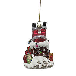 5.12-Inch Upside Down Santa Chimney Figural Christmas Ornament in Red