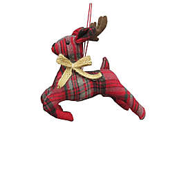 6-Inch Assorted Plaid Bear & Reindeer Figural Christmas Ornament in Red