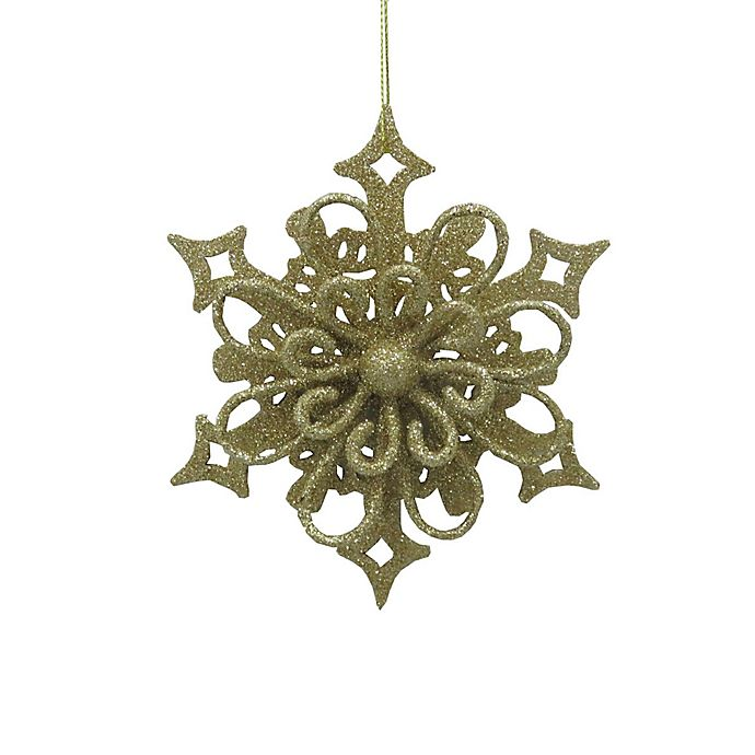 Alternate image 1 for 5.25-Inch Glitter Snowflake Figural Christmas Ornament in Gold