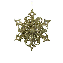 5.25-Inch Glitter Snowflake Figural Christmas Ornament in Gold