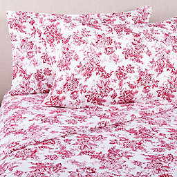 Bee & Willow™ Home Floral Flannel Standard Pillowcase in Ivory/Red