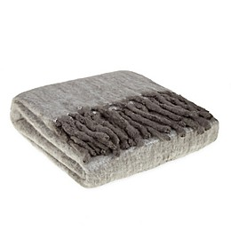 Wamsutta® Collection Faux Mohair Fringe Throw Blanket in Grey
