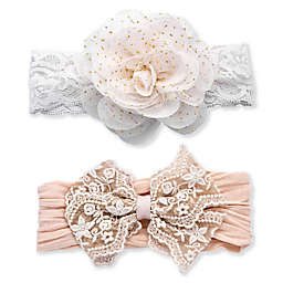 Khristie® 2-Pack Lace and Flower Headbands in Taupe/White