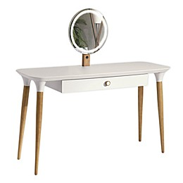 Manhattan Comfort© HomeDock Vanity Table with LED Mirror in White/Cinnamon