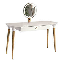 Manhattan Comfort© HomeDock Vanity Table with LED Mirror in White/Cinnamon