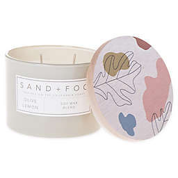 Sand + Fog® Olive and Lemon 12 oz. Painted-Lid Jar Candle with Palm Leaf Design