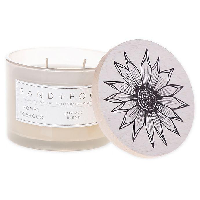 Alternate image 1 for Sand + Fog® Honey Tobacco12 oz. Painted Lid Jar Candle with Sunflower Design