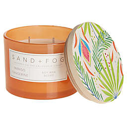 Sand + Fog® Mango Tangerine 12 oz. Painted-Lid Jar Candle with Tropical Design