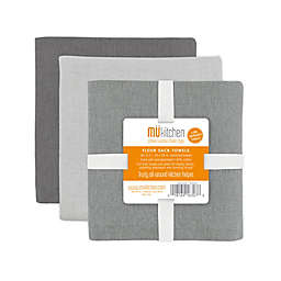 MU Kitchen™ Flour Sack Dish Towels in Grey (Set of 3)