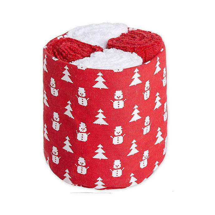 Alternate image 1 for Winter Wonderland Fairisle Snowman Wash Towels (Set of 4)