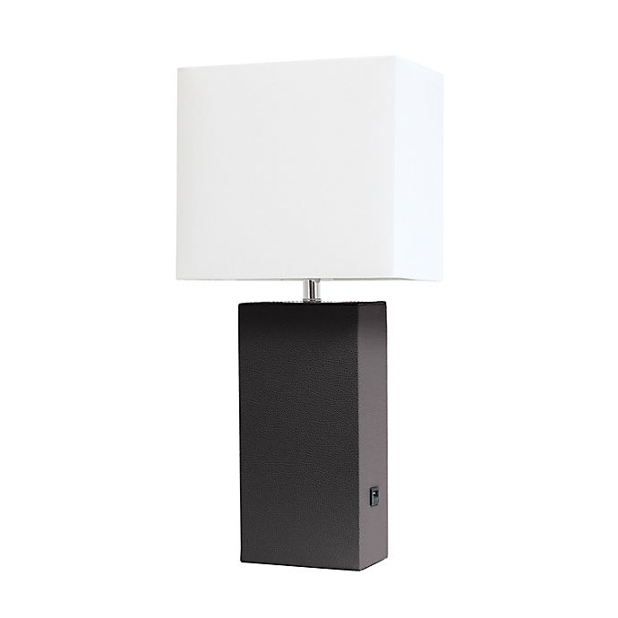 Alternate image 1 for Elegant Designs Leather Table Lamp with Fabric Shade