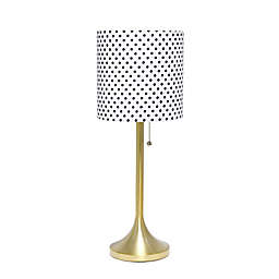 Tapered Table Lamp in Gold/Polka Dot with Shade