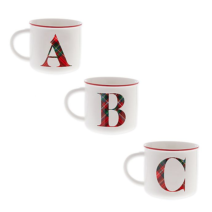 Alternate image 1 for Bee & Willow™ Home Plaid Monogram Letter Mug