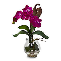 Nearly Natural 15-Inch Mini Vanda Silk Flower Arrangement in Pink with Fluted Vase