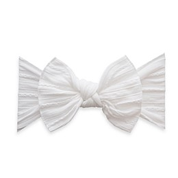Baby Bling Cable Knit Knot Headband in White