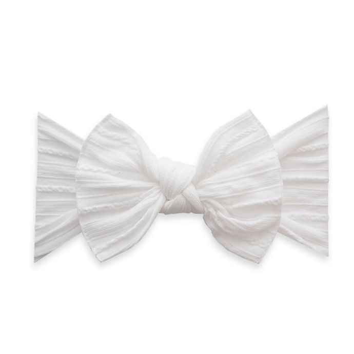 Alternate image 1 for Baby Bling Cable Knit Knot Headband in White