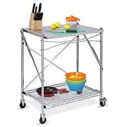 Honey-Can-Do® Household Folding Work Table with Wheels in Stainless Steel