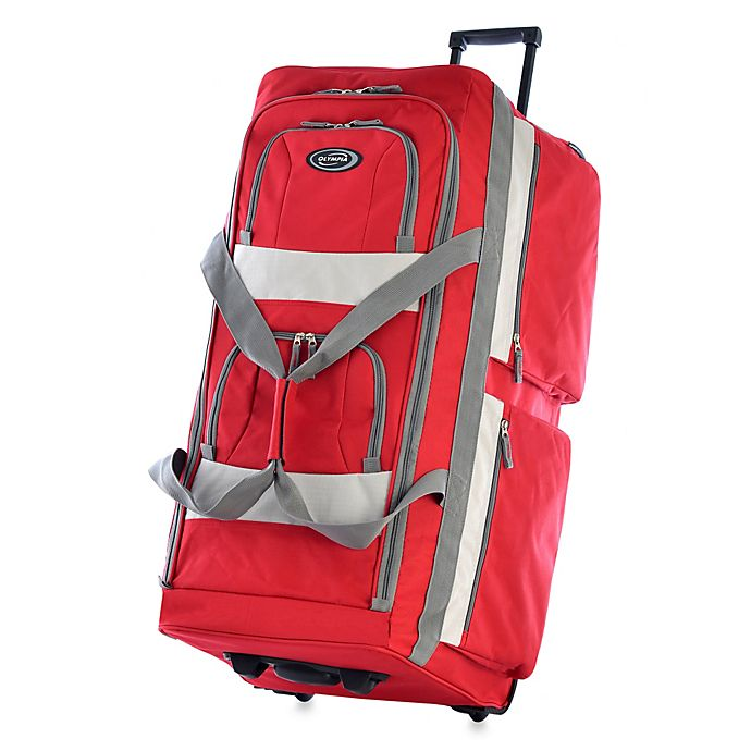 Alternate image 1 for Olympia® 33-Inch 8-Pocket Rolling Duffle in Red