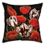 Part of the Flower Patch Square Throw Pillow in Red/Black
