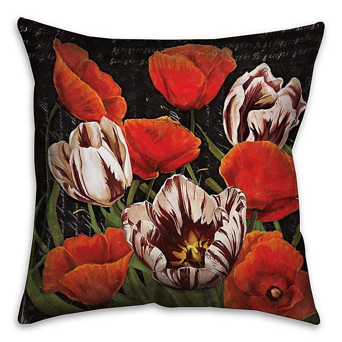 Alternate image 1 for Flower Patch 18-Inch Square Throw Pillow in Red/Black