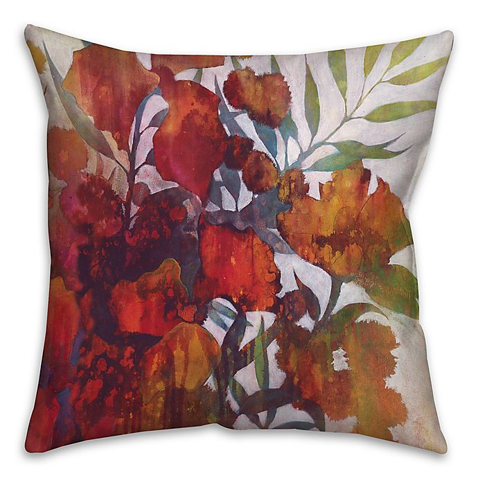 Alternate image 1 for Drip Flowers 18-Square Throw Pillow in Red