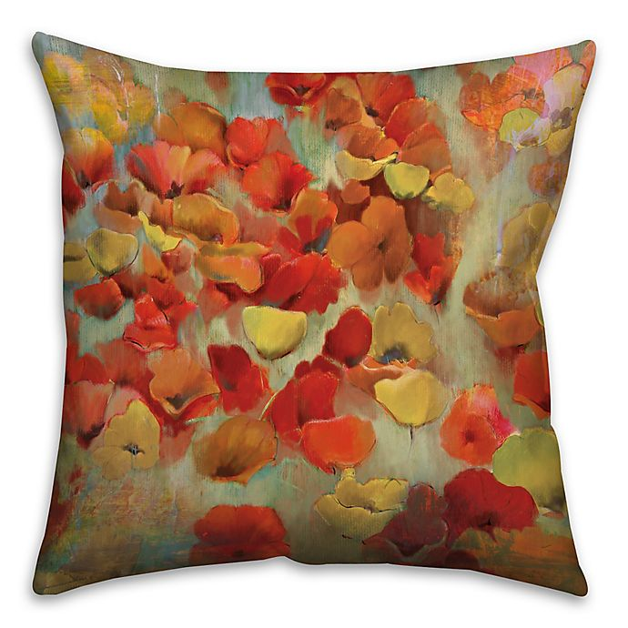 Alternate image 1 for Floral 18-Inch Square Throw Pillow in Red/Yellow