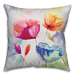 Watercolor Poppies Square Throw Pillow