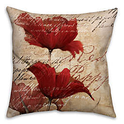 Soothing Poppies Square Throw Pillow in Red/Beige