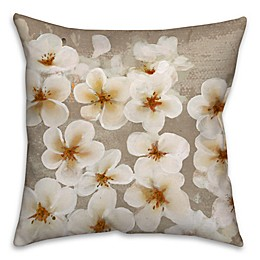 Cherry Florals Square Throw Pillow in Taupe/White