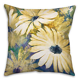 Daisies Square Throw Pillow in Yellow