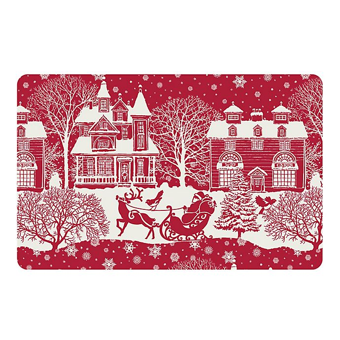 Alternate image 1 for The Softer Side by Weather Guard™ Scenic Santa Sleigh Kitchen Mat in Red/White